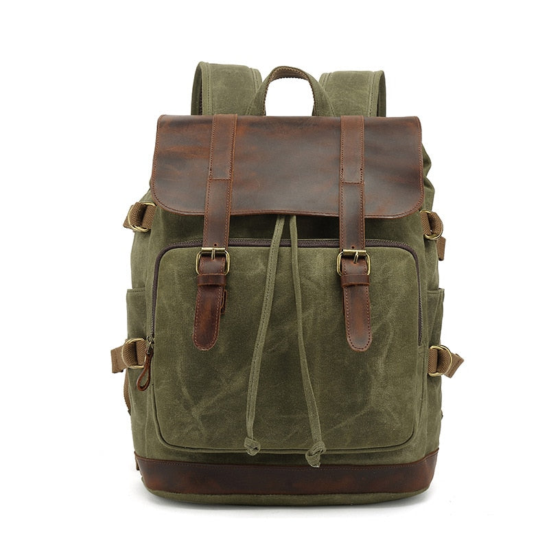 Vintage Canvas Leather Backpack