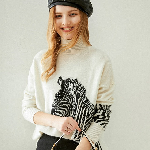 Animal Pattern Cashmere Pullover