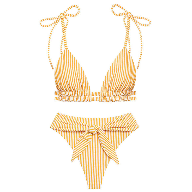 High Waist Bikini Set Vintage Striped Push Up