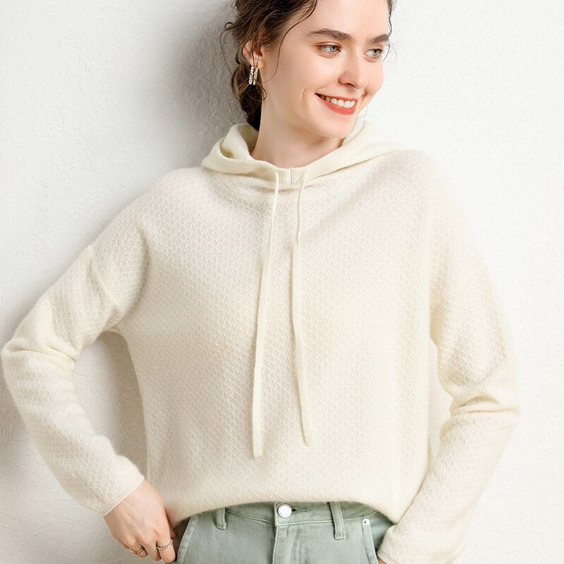 Cashmere Hooded Pattern Design Sweater