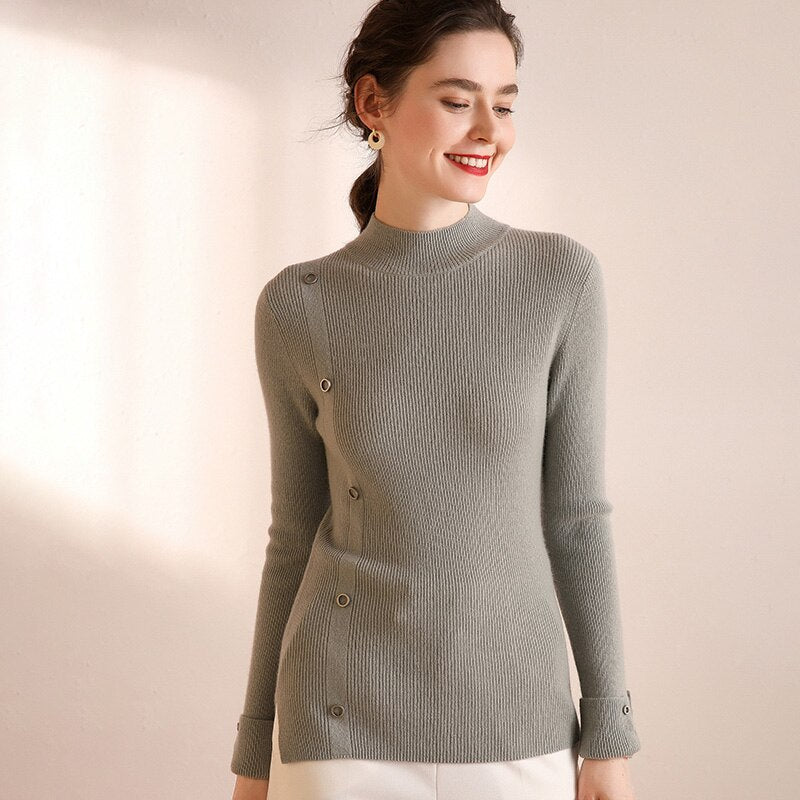 Button Design Slim-fit Cashmere Sweater