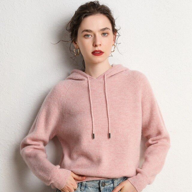 Hooded Cashmere Sweater 100% Pure Cashmere