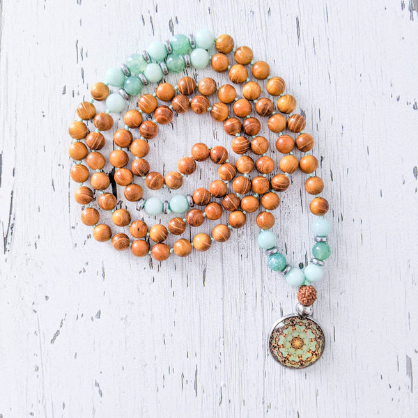 Collier Amazonite, Agate et Bois de Santal