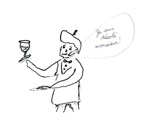 A sketch of a sommelier in action.