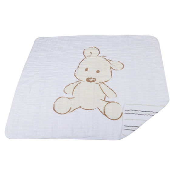 Teddy Bear and Grey Stripe Newcastle Blanket - Halo Toys & Electronics