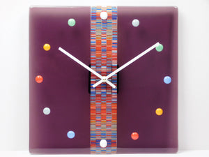 Fused glass wall clock Sweet Candies in Cranberry juice - Halo Toys & Electronics