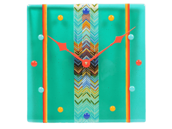 Fused glass wall clock Sweet Candies in Mint Juice - Halo Toys & Electronics