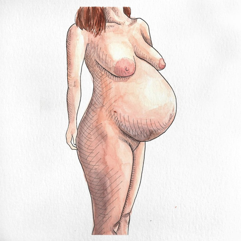 Pregnant nude female portrait painted in watercolor