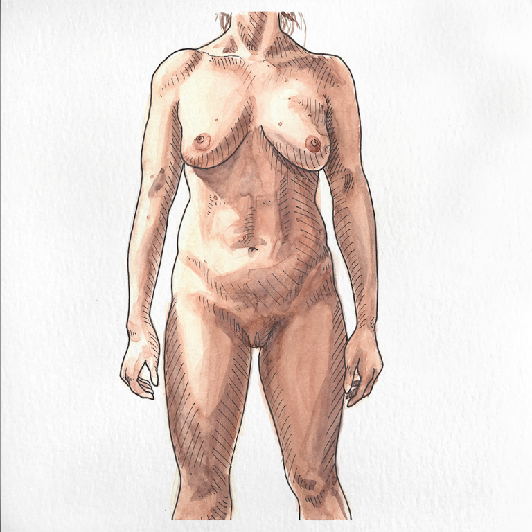 Nude female portrait painted in watercolor