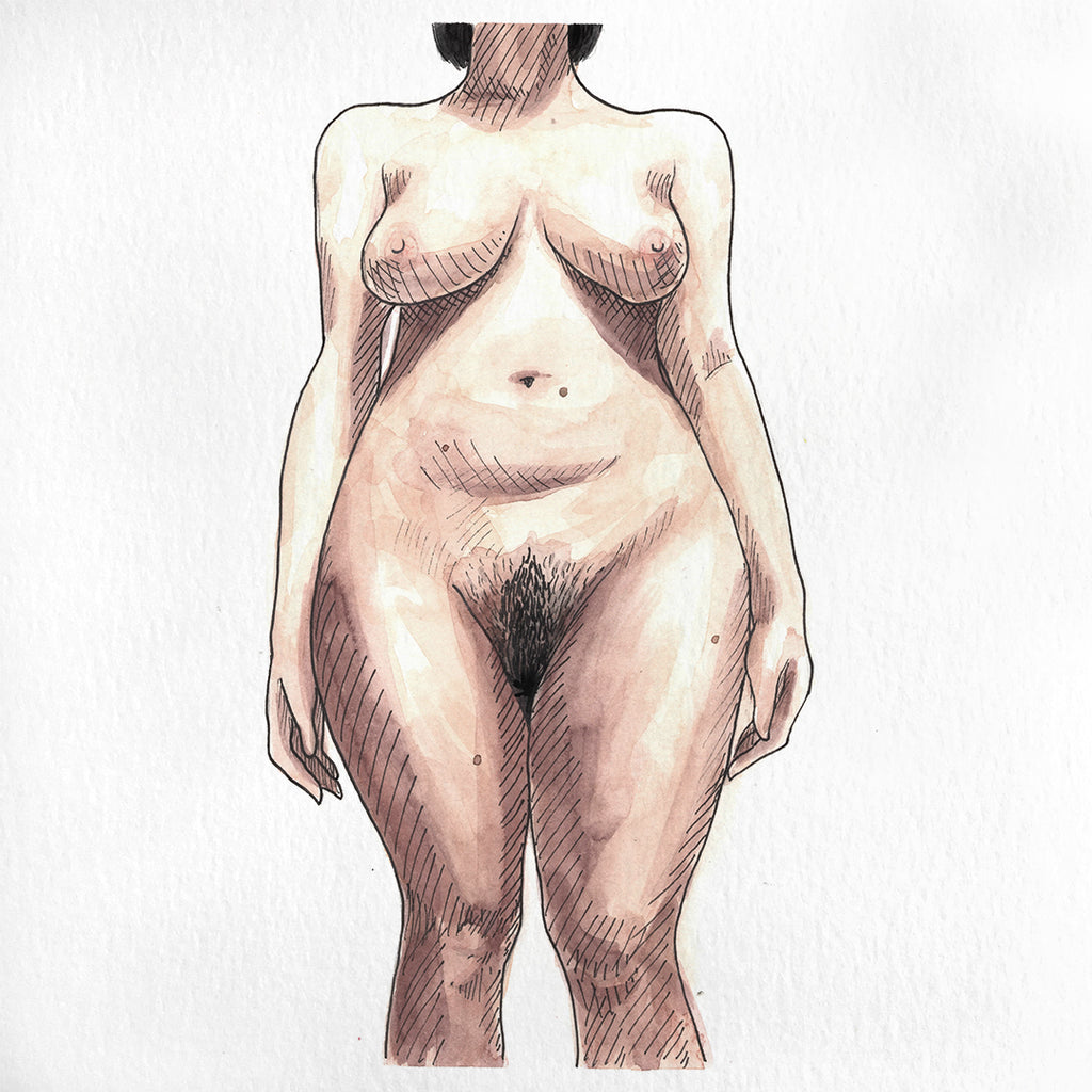 A nude painting of a woman in watercolor