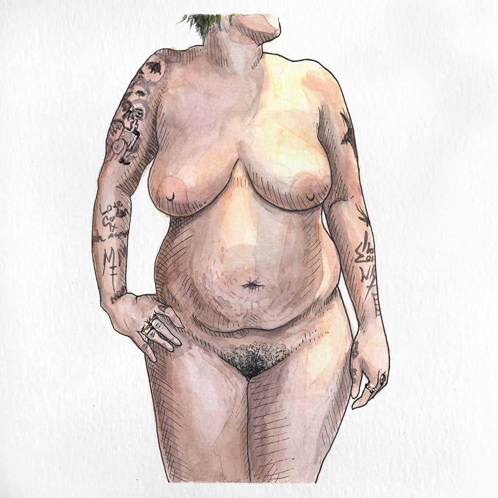A nude watercolor painting of a woman with tattoos