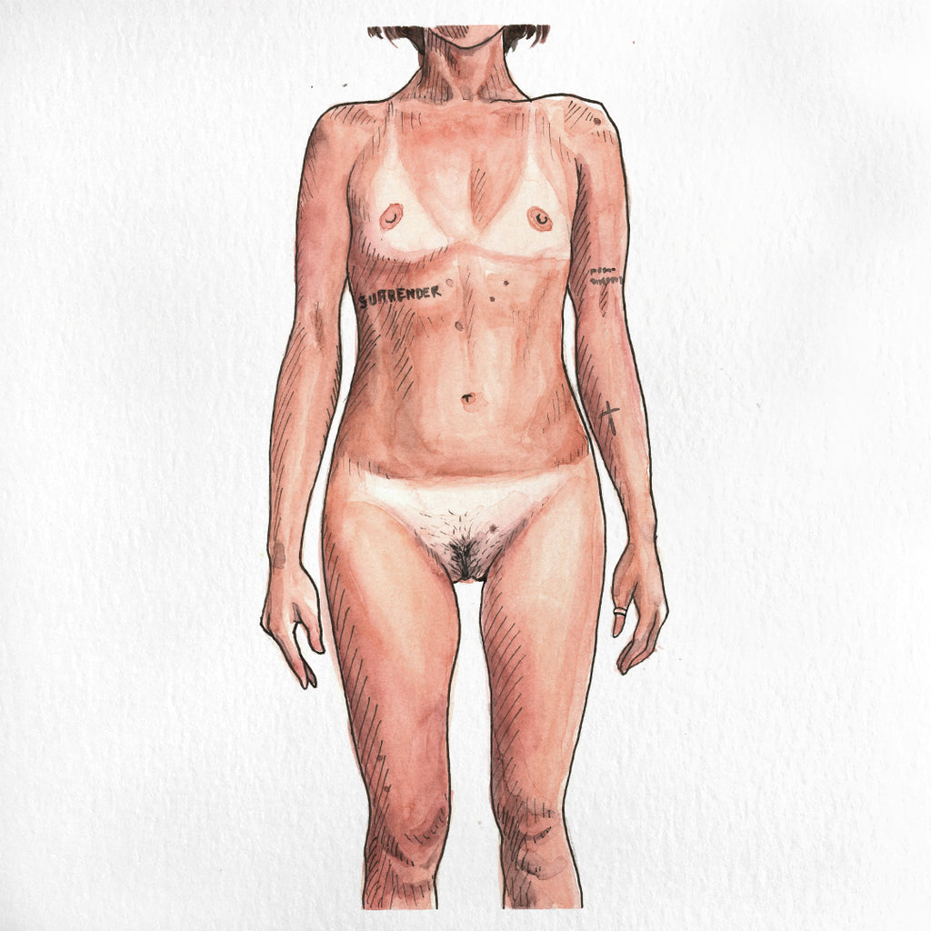 A nude female painted in watercolor