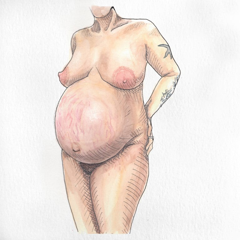 Nude pregnant non-binary portrait painted in watercolor