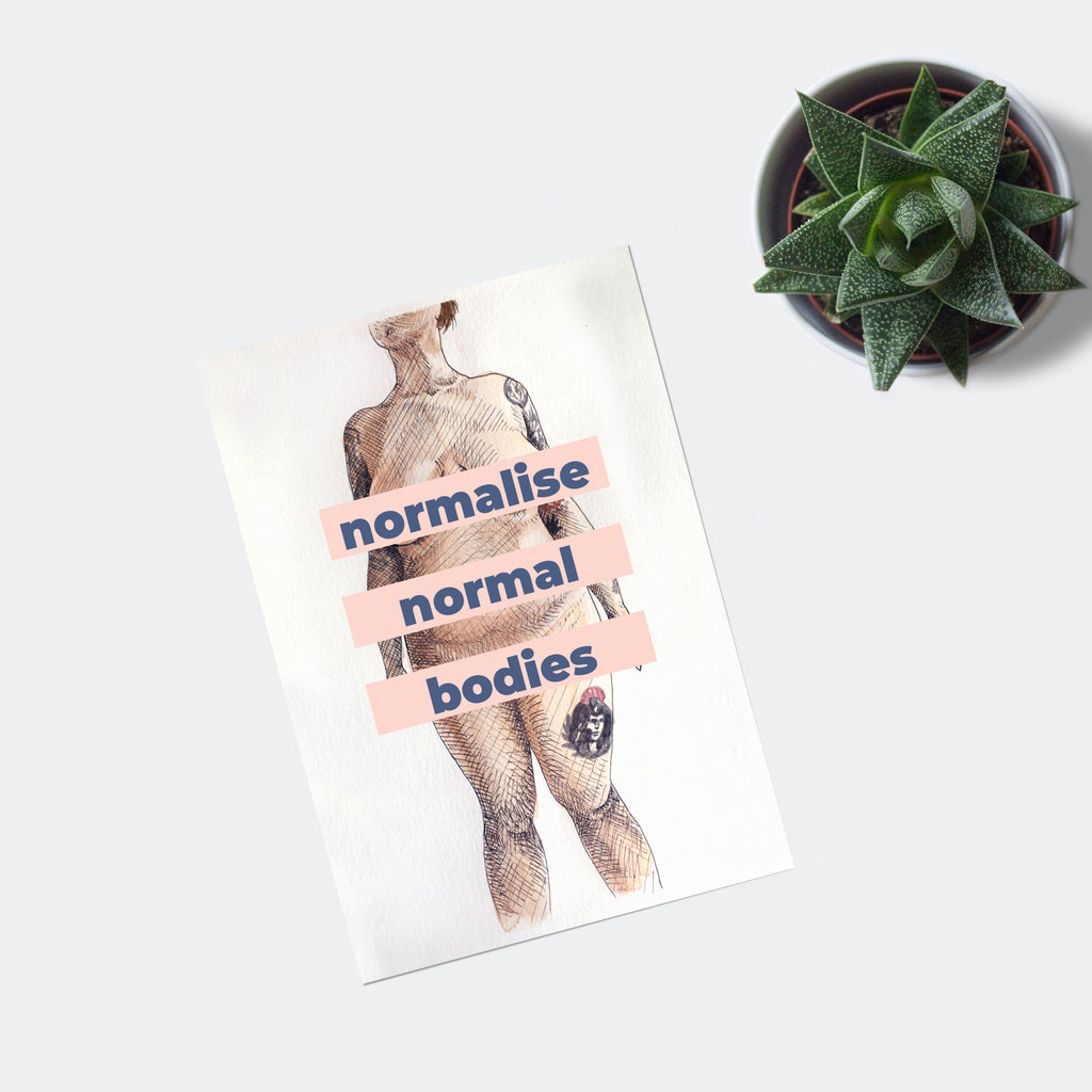 Normalise Normal Bodies Poster with Blue Text
