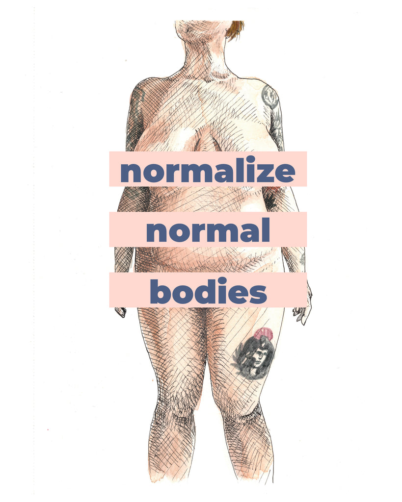 Normalize Normal Bodies Poster - Blue Text
