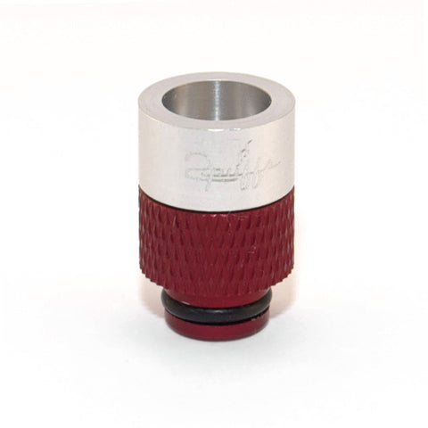 2Puffs drip tips, silver/red. The Village Vaporette.