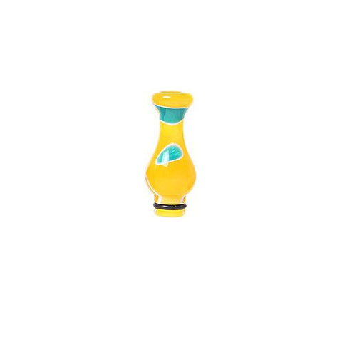 Acryle Vase-style drip tips, yellow/blue. The Village Vaporette.