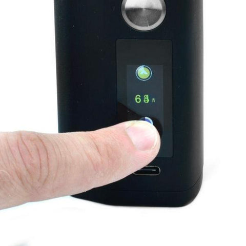 Asmodus Minikin V3 200W Box Mod, touch screen. The Village Vaporette, Cambridge, Ontario, Canada, ergonomic, vape device, vape mod, wireless charging, type-c charging, ergonomic, haptic,