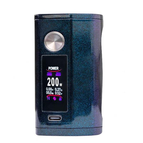 Asmodus Minikin V3 200W Box Mod, Blue. The Village Vaporette, Cambridge, Ontario, Canada, ergonomic, vape device, vape mod, wireless charging, type-c charging, ergonomic, haptic,
