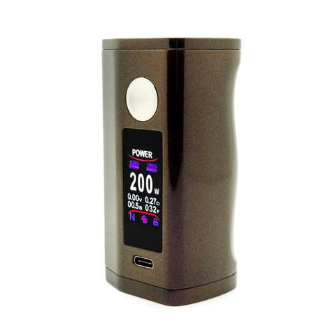 Asmodus Minikin V3 200W Box Mod, Coffee. The Village Vaporette, Cambridge, Ontario, Canada, ergonomic, vape device, vape mod, wireless charging, type-c charging, ergonomic, haptic,