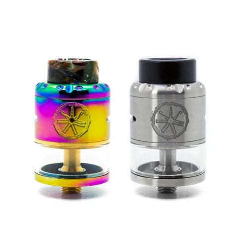 Asmodus Nefarius RDTA, Rainbow and Stainless. The Village Vaporette, Cambridge, Ontario, Canada, rebuildable, 4mL, squonk pin, rebuildable tank, diy coil build,