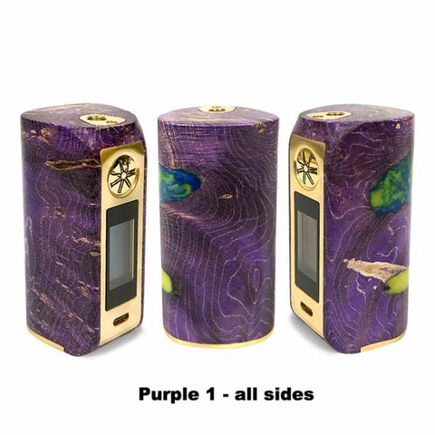 Asmodus Minikin V2 Stabilized Wood, purple with gold trim 1, all sides. The Village Vaporette.