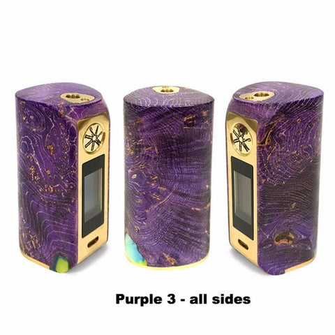 Asmodus Minikin V2 Stabilized Wood, purple with gold trim 3, all sides. The Village Vaporette.