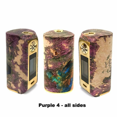 Asmodus Minikin V2 Stabilized Wood, purple with gold trim 4, all sides. The Village Vaporette.