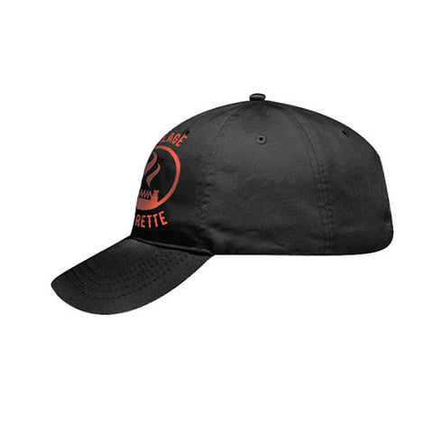 Ball cap with 'The Village Vaporette' logo, left side. The Village Vaporette.