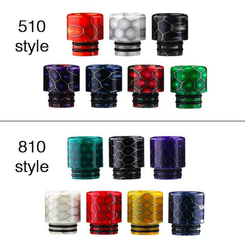 Demon Killer Cobra Resin Drip Tips, all available colours and styles. The Village Vaporette, Cambridge, Ontario, Canada, snakeskin, 810, 510, double o-rings,