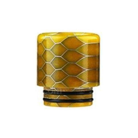Demon Killer Cobra Resin Drip Tips, 810 style, Yellow. The Village Vaporette, Cambridge, Ontario, Canada, snakeskin, 810, 510, double o-rings,