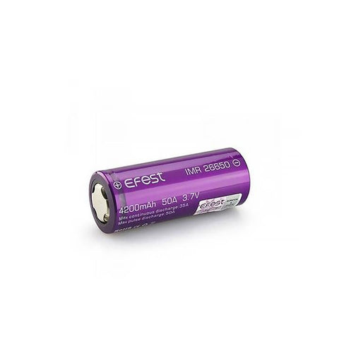Purple Efest 25A/50A 26650 4200mah Battery