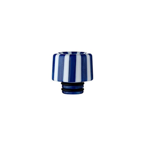 Epoxy Resin Stripe Drip Tips, 510 Blue & White Stripe. The Village Vaporette, Cambridge, Ontario, Canada, striped, stripes, 810, 510, vape drip tip, mouthpiece, double o-rings,