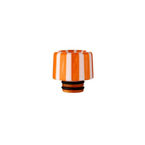 Epoxy Resin Stripe Drip Tips, 510 Orange & White Stripe. The Village Vaporette, Cambridge, Ontario, Canada, striped, stripes, 810, 510, vape drip tip, mouthpiece, double o-rings,