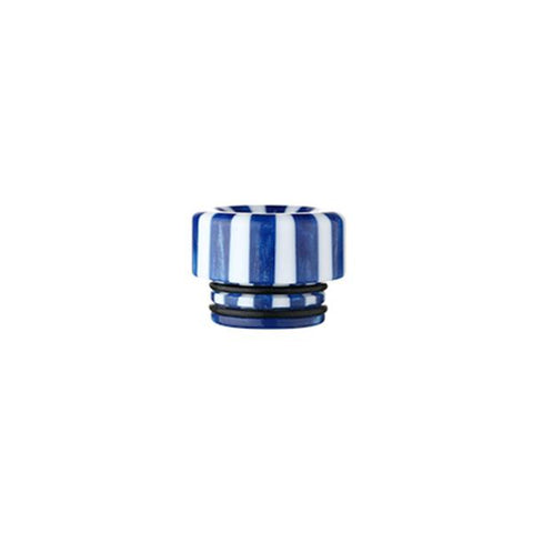 Epoxy Resin Stripe Drip Tips, 810 Blue & White Stripe. The Village Vaporette, Cambridge, Ontario, Canada, striped, stripes, 810, 510, vape drip tip, mouthpiece, double o-rings,
