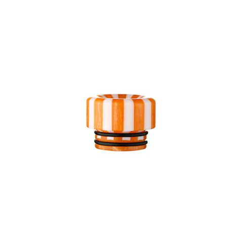 Epoxy Resin Stripe Drip Tips, 810 Orange & White Stripe. The Village Vaporette, Cambridge, Ontario, Canada, striped, stripes, 810, 510, vape drip tip, mouthpiece, double o-rings,