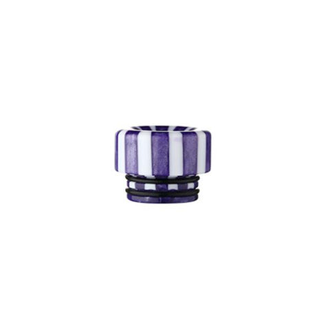 Epoxy Resin Stripe Drip Tips, 810 Purple & White Stripe. The Village Vaporette, Cambridge, Ontario, Canada, striped, stripes, 810, 510, vape drip tip, mouthpiece, double o-rings,