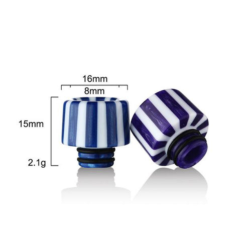 Epoxy Resin Stripe Drip Tips, Dimensions. The Village Vaporette, Cambridge, Ontario, Canada, striped, stripes, 810, 510, vape drip tip, mouthpiece, double o-rings,