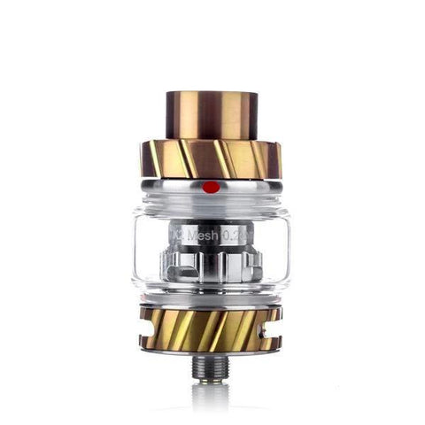 Freemax Fireluke 2 (coil) Tank, gold. The Village Vaporette, Cambridge, Ontario, Canada, metal, updated version, great flavor, 360 degree e-liquid feeding, 90% tea fiber cotton