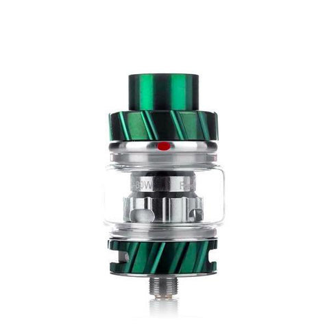Freemax Fireluke 2 (coil) Tank, green. The Village Vaporette, Cambridge, Ontario, Canada, metal, updated version, great flavor, 360 degree e-liquid feeding, 90% tea fiber cotton