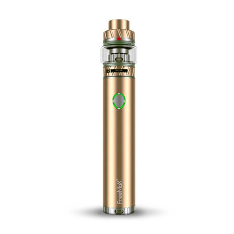 Freemax Twister 80W Starter Kit, Metal Gold. The Village Vaporette, Cambridge, Ontario, Canada, vape pen, bubble glass, variable wattage, twist ring, mesh coils, built in battery, 5mL juice capacity, top fill,
