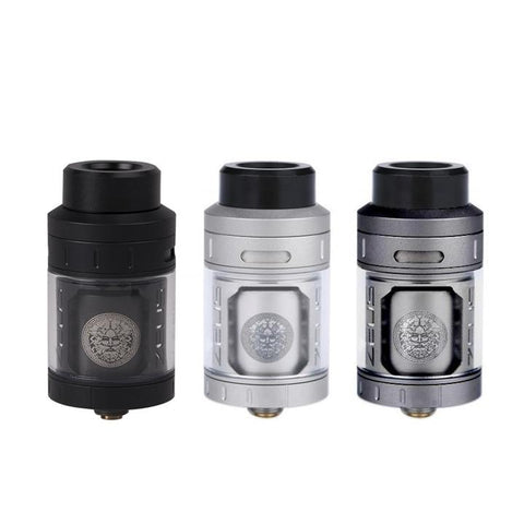 Geekvape Zeus RTA, black, silver & gunmetal. The Village Vaporette.