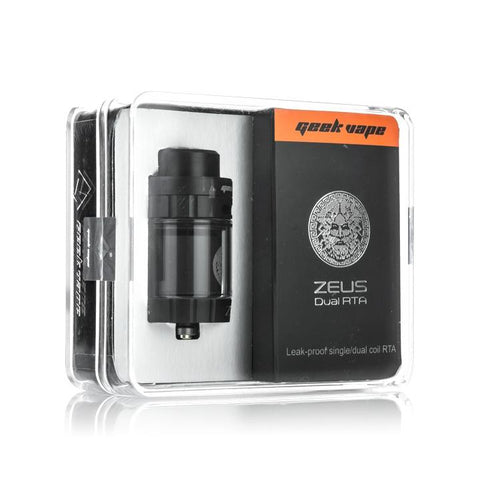 Geekvape Zeus Dual RTA, packaging. The Village Vaporette.