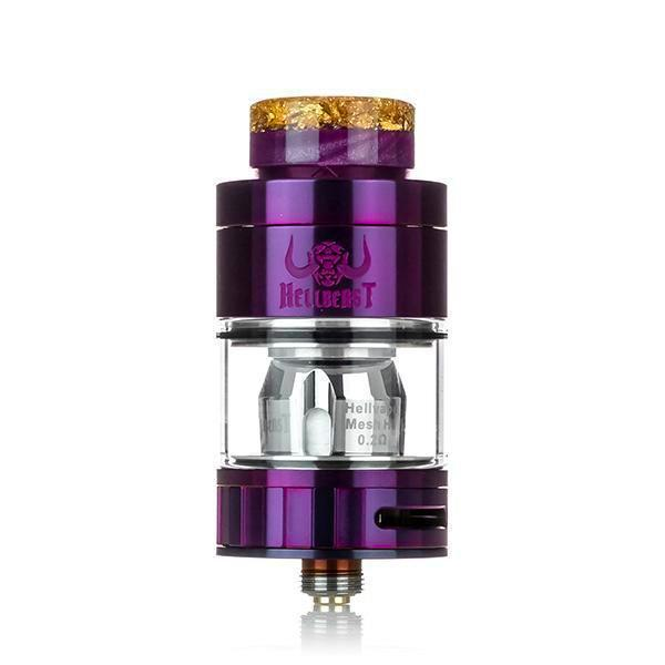 Hellvape Hellbeast Hybrid Tank, Purple. The Village Vaporette, Cambridge, Ontario, Canada, mouth to lung vape, airflow options, cyclops, coil options, 4mL juice,