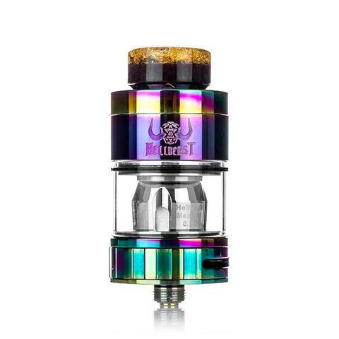 Hellvape Hellbeast Hybrid Tank, Rainbow. The Village Vaporette, Cambridge, Ontario, Canada, mouth to lung vape, airflow options, cyclops, coil options, 4mL juice,