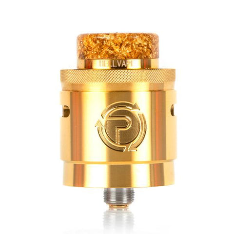 Hellvape PASSAGE RDA, Gold. The Village Vaporette, Cambridge, Ontario, Canada, suck my mod, vape dripper, vaping atomizer, rebuildable atomizer, two post deck, squonk pin, 24mm, vaping system,