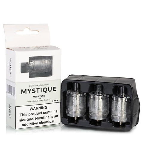 iJoy Mystique Disposable Sub Ohm Tank, 3 pack. The Village Vaporette, Cambridge, Ontario, Canada, throw away, vape tank, transparent, mesh coil,