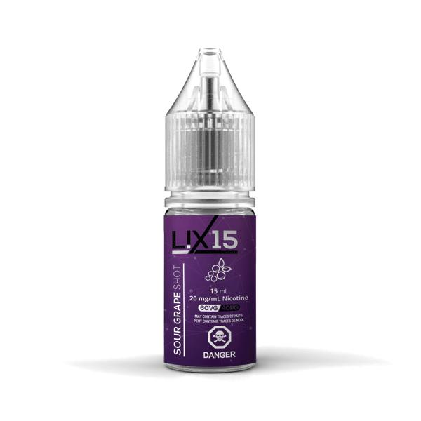Juice Punk: Lix 15 Sour Grape Shot. 15mL Salt Nicotine. The Village Vaporette, Cambridge, Ontario, Canada, salt nic, nic salt, flavour shot, salt nicotine, vape juice