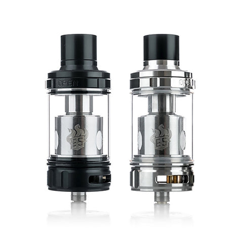 Eleaf Melo 300 Sub Ohm Tank, black and stainess steel. The Village Vaporette.