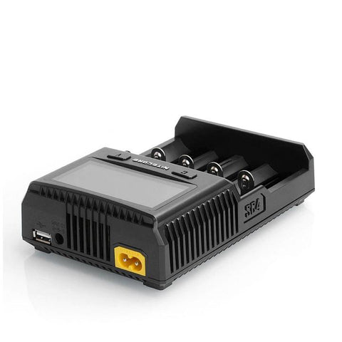 Nitecore SUPERB SC4 LCD Charger, USB port. The Village Vaporette.